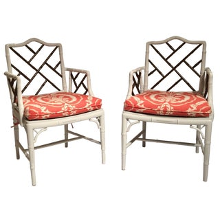 Chinoiserie Faux-Bamboo Armchairs - A Pair