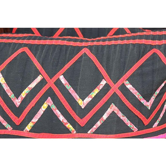"""Vintage Hmong Black and Pink Pillow - 23"""" x 12"""" - Image 3 of 3"""