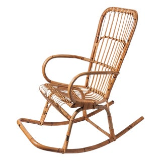 Vintage Rattan & Bamboo Rocking Chair