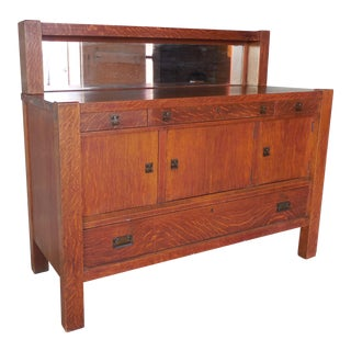"Antique Mission Arts & Crafts Tiger Oak Sideboard Buffet by Zink Morehead 60""W"