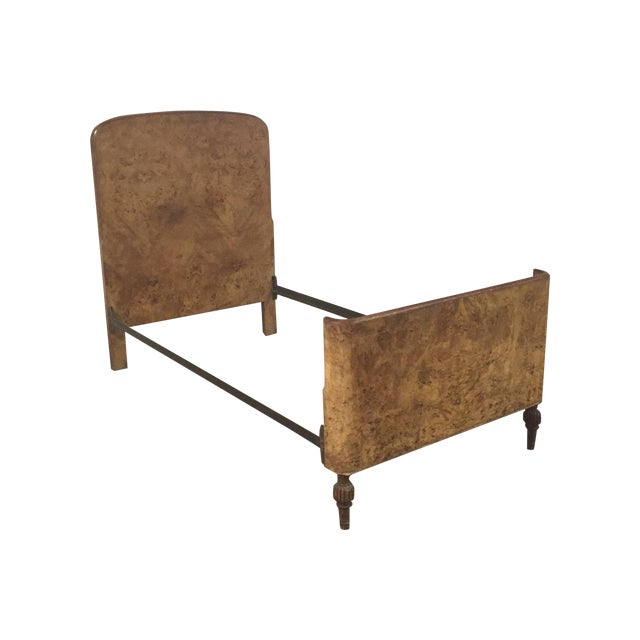 Image of Art Deco Burl Wood Twin Bed Frame