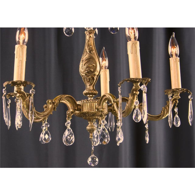 Vintage French Rococo Style 5-Arm Chandelier - Image 4 of 7