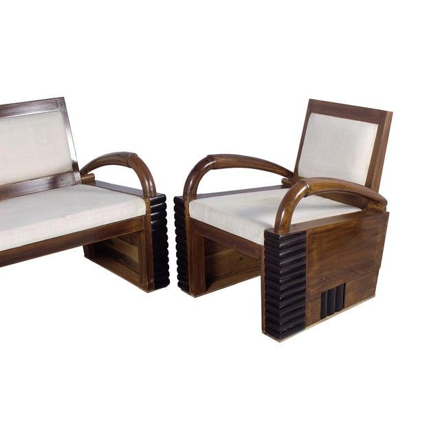 Image of Teak Wood Handmade Art Deco Style Sofa Set