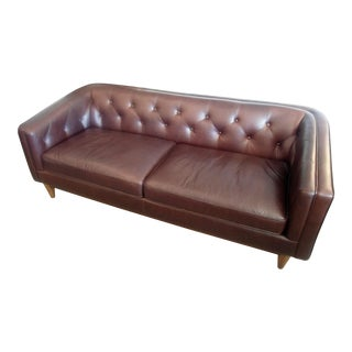 Chocolate Brown Tufted Leather Sofa