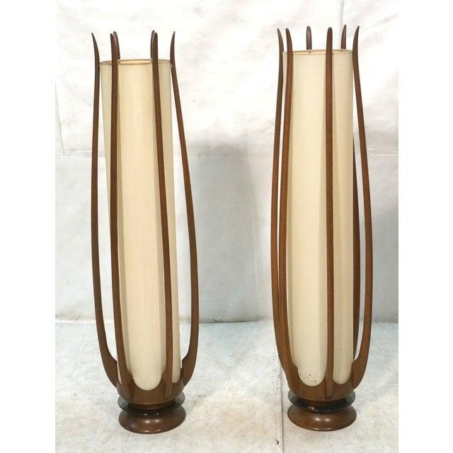 Mid-Century Modeline Walnut Tall Floor Lamps - Image 2 of 7