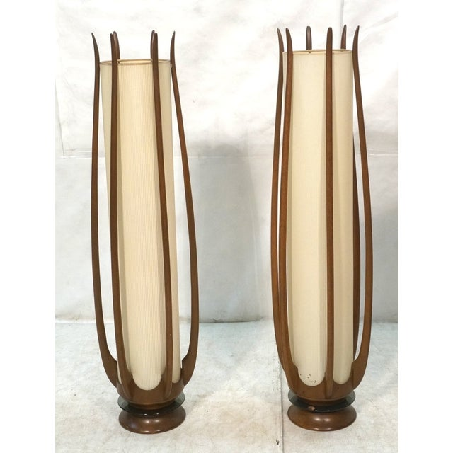 Image of Mid-Century Modeline Walnut Tall Floor Lamps