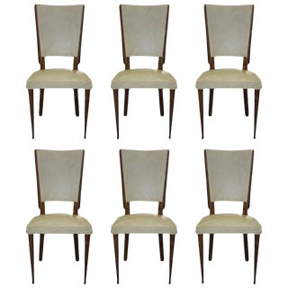 Set of Six French Art Deco Solid Mahogany Dining Chairs, circa 1940s.