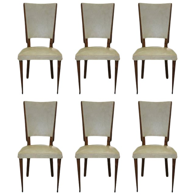 Set of Six French Art Deco Solid Mahogany Dining Chairs, circa 1940s. - Image 1 of 10