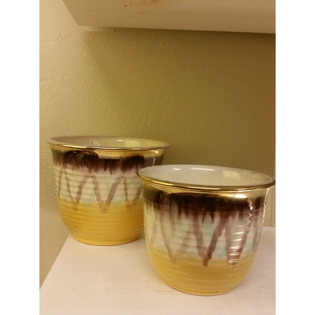 Image of Yellow & Purple German Planters - A Pair