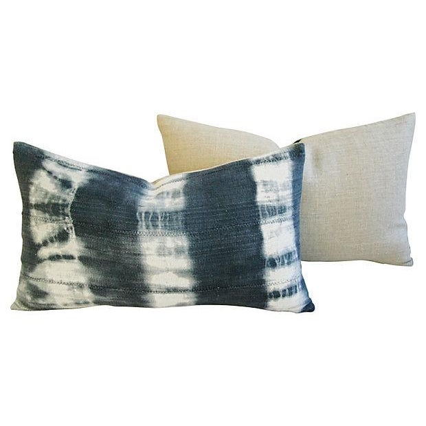 Image of Linen Ombré Indigo & White Pillows - a Pair