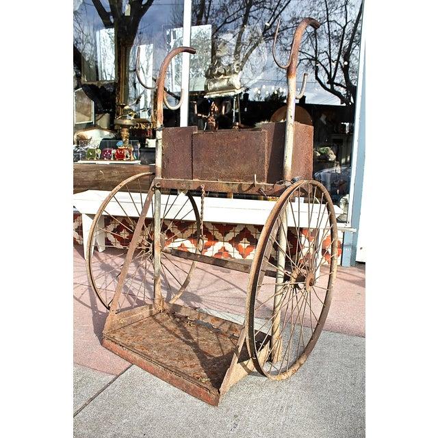 Image of 1930s Rusty Iron Welded Bar Cart