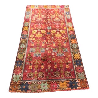"Vintage Colorful Persian Qashghi Rug - 3'4"" X 6'5"""