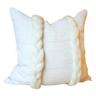 Braided White African Mud Cloth Pillow 22""