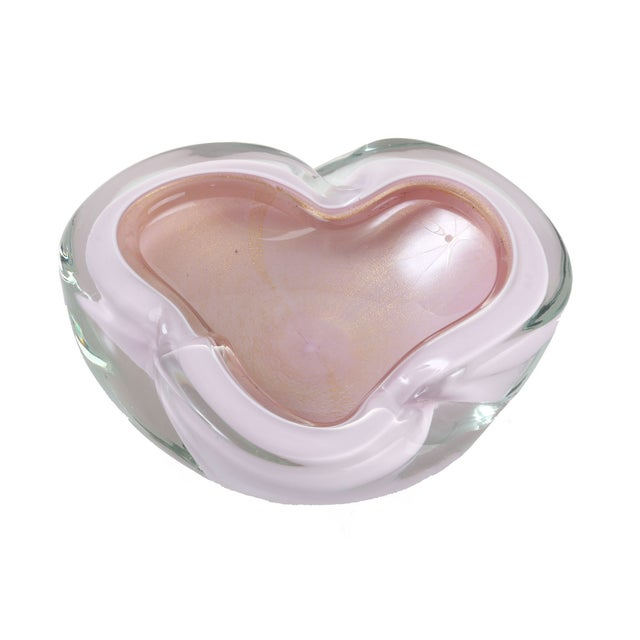 Handblown Pink Murano Bowl - Image 4 of 5