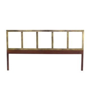 Brass and Wood Mid-Century Modern King-Size Headboard