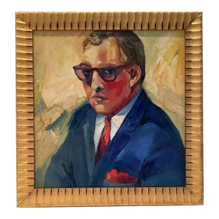 """Mid-Century Oil on Canvas Painting """"Man"""" Portrait By, M. Remo"""