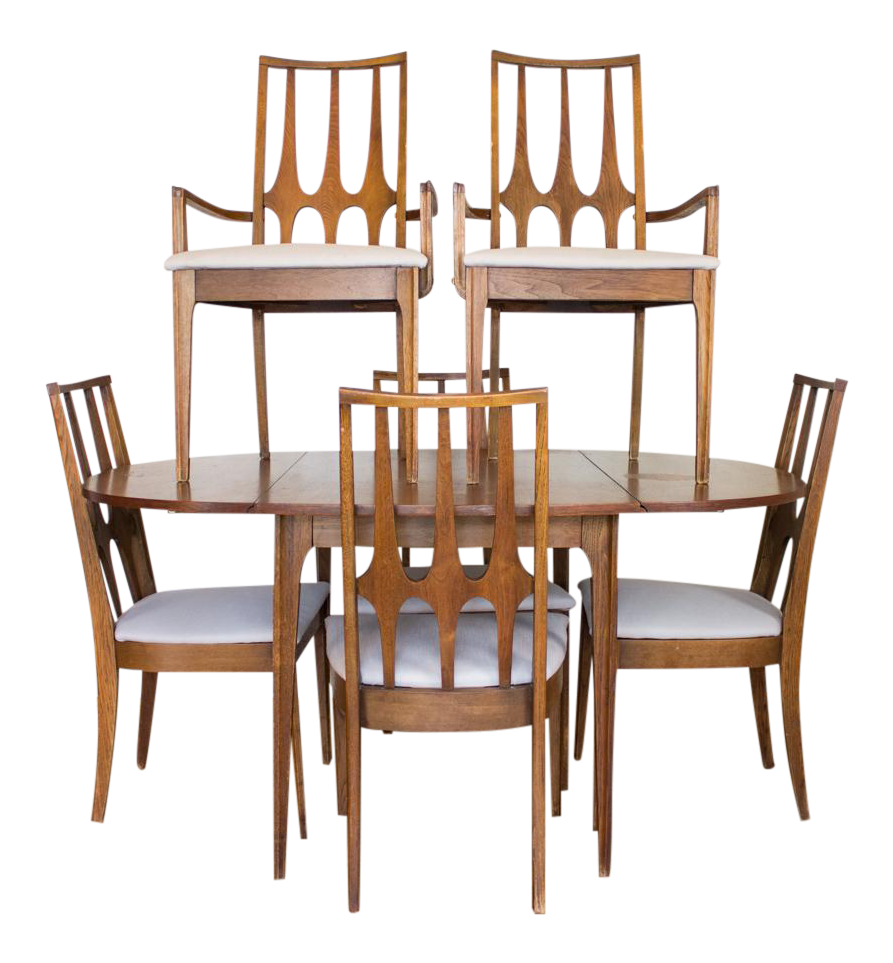 Mid Century Broyhill Dining Set 6 Chairs, Drop Leaves And Removable Leaves