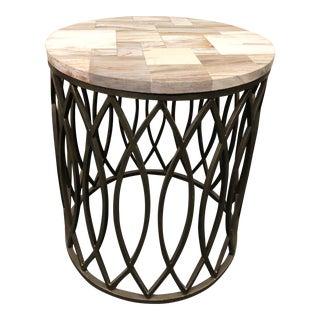 New Palecek Petrified Wood + Metal Side Table