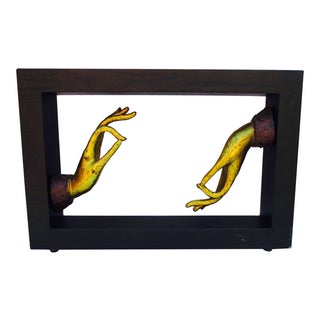 Modernist Abstract Framed Hand Sculpture