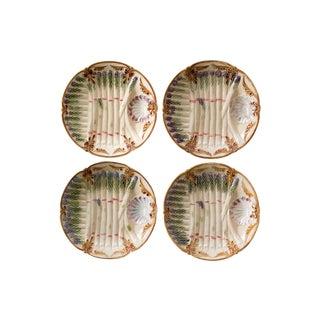 Antique French Majolica Asparagus Plates - Set of 4