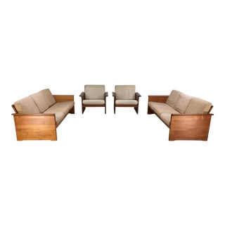 Danish Modern Solid Teak Sofas & Lounge Chairs - Set of 4