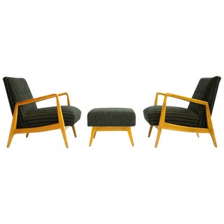 Pair of Jens Risom Lounges with Ottoman