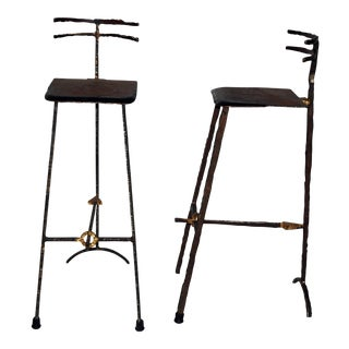 Mid-Century Modern Giacometti Style Bar Stools - A Pair