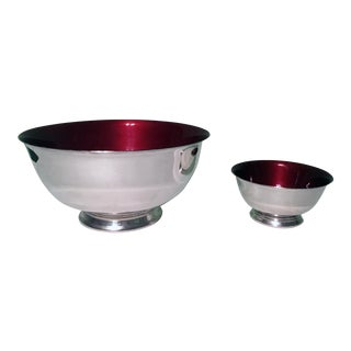 Silverplate Paul Revere Bowls With Red Enamel Interior - a Pair