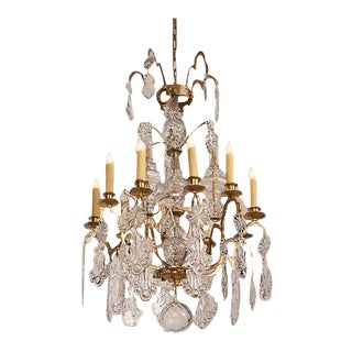 Louis XV Style Crystal Gilded Brass Ten Light Chandelier circa 1875