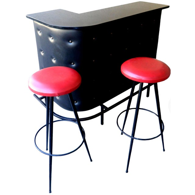 Vintage French Jacques Adnet Bar and 2 Stools - Image 1 of 10