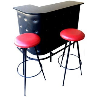Vintage French Jacques Adnet Bar and 2 Stools