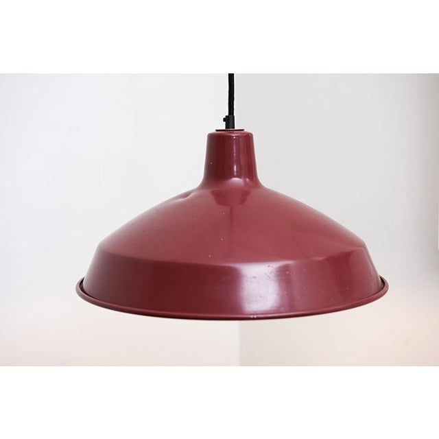 Red Enamel Industrial Pendant Lamp - Image 3 of 4
