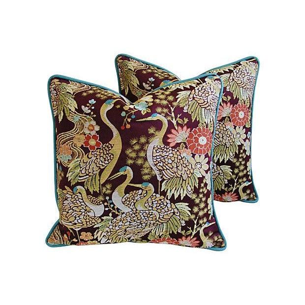 Designer Embroidered Crane Pillows - Pair - Image 1 of 8