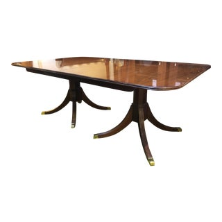 Mahogany Duncan Phyfe Style Double Pedestal Dining Table