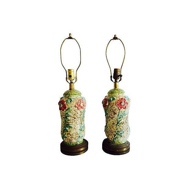 1960s Ceramic Textured Flower Lamps - Pair - Image 1 of 6