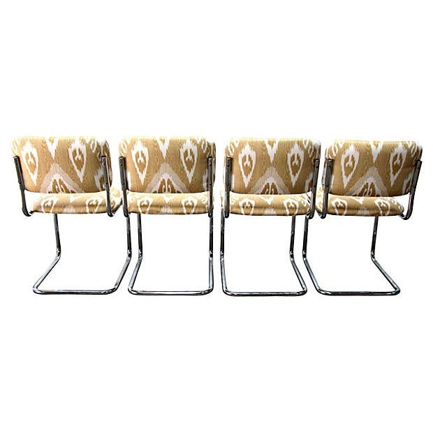 Ikat Cantilevered Chrome Chairs - Set of 4 - Image 5 of 7