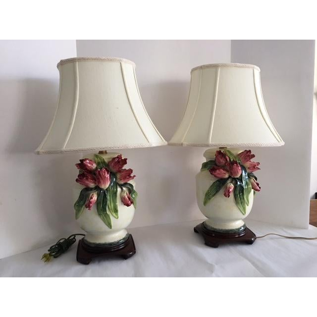 Image of Anne Vosseller Porcelain Ginger Jar Parrot Tulip Barbotine Lamp - a Pair