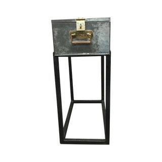 French Metal Safety Deposit Box Table