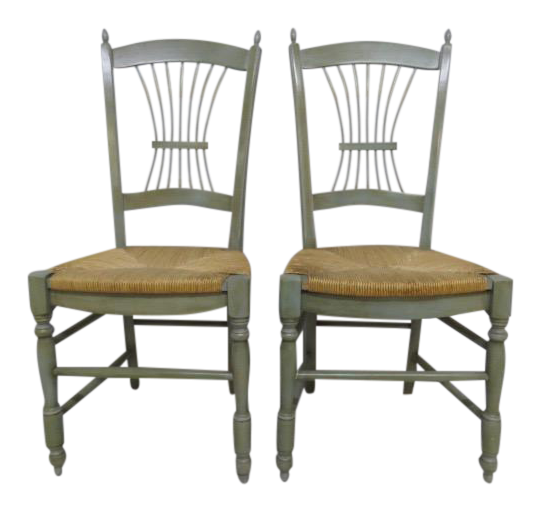 Beech Wood Provencal Chairs   A Pair