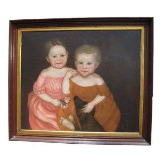Folk Art Portrait of Two Children w/Dog