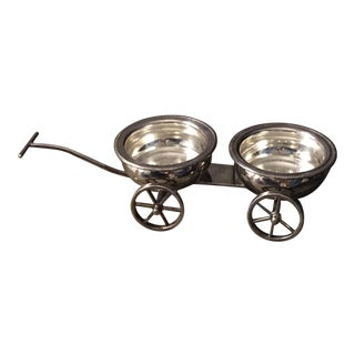 Antique Silver Plated Double Bottle Coaster Cart