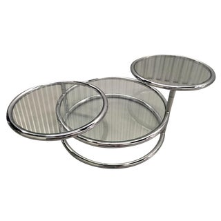 Milo Baughman Style Circular Chrome Coffee Table