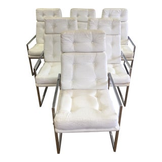 ChromCraft White Leather Chairs - Set of 6