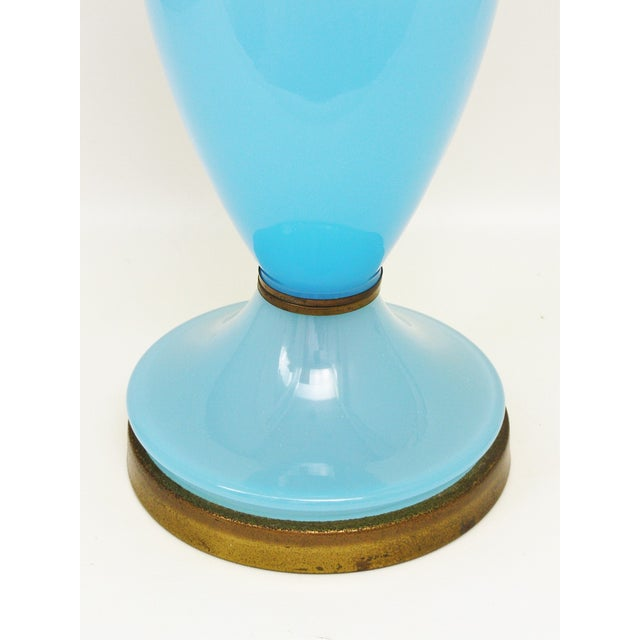 Image of Opaline Blue Murano Glass Lamp