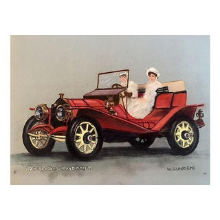 1908 Packard Roadster Pastel Drawing C.1950