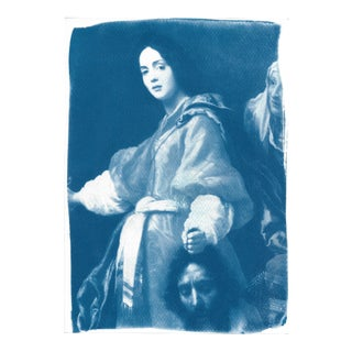 Limited Edition, Cyanotype Print on Watercolor Paper, Allori Painting Of Judith with the Head of Holofernes
