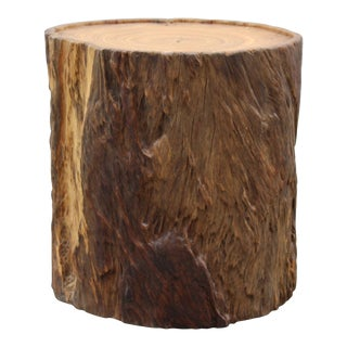 Chinese Natural Camphor Thick Wood Stem Rough Stool Table