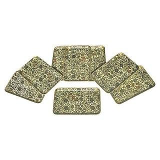 Mid-Century Floral Papier-Mâché Trays - Set of 8