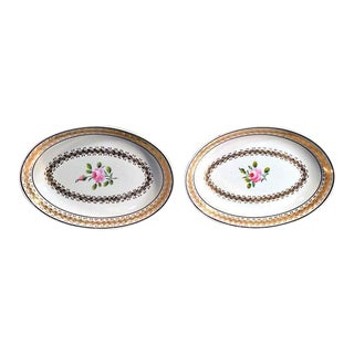 Neale & Co. Creamware Oval Botanical Dishes - A Pair