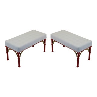 Coral Red & Ivory Palm Beach Style Benches